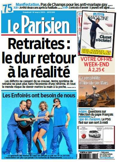 Le Parisien et cahier de Paris Vendredi 15 Mars 2013