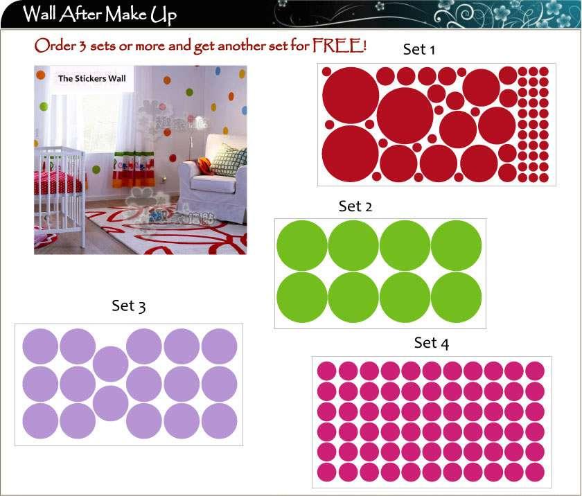 Dettagli su Adesivi Artistici Per Pareti 64 Pois Colorate In Vinile