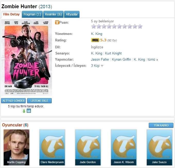 Zombie Hunter - 2013 BRRip XviD AC3 - Türkçe Altyazılı Tek Link indir